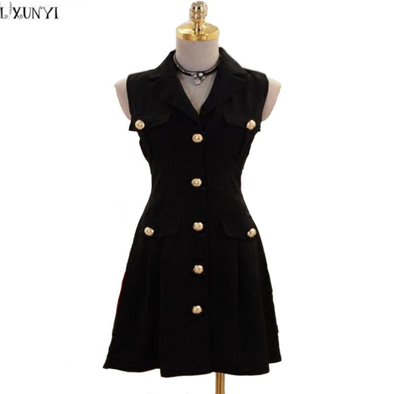 Gold button dress