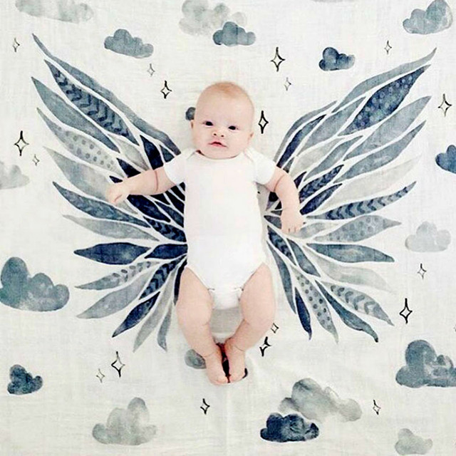 Newborn Baby Blankets Crown/Wing Muslin swaddling babies Wrap Multifunctional Gauze Blankets couverture enfant baby dekentje