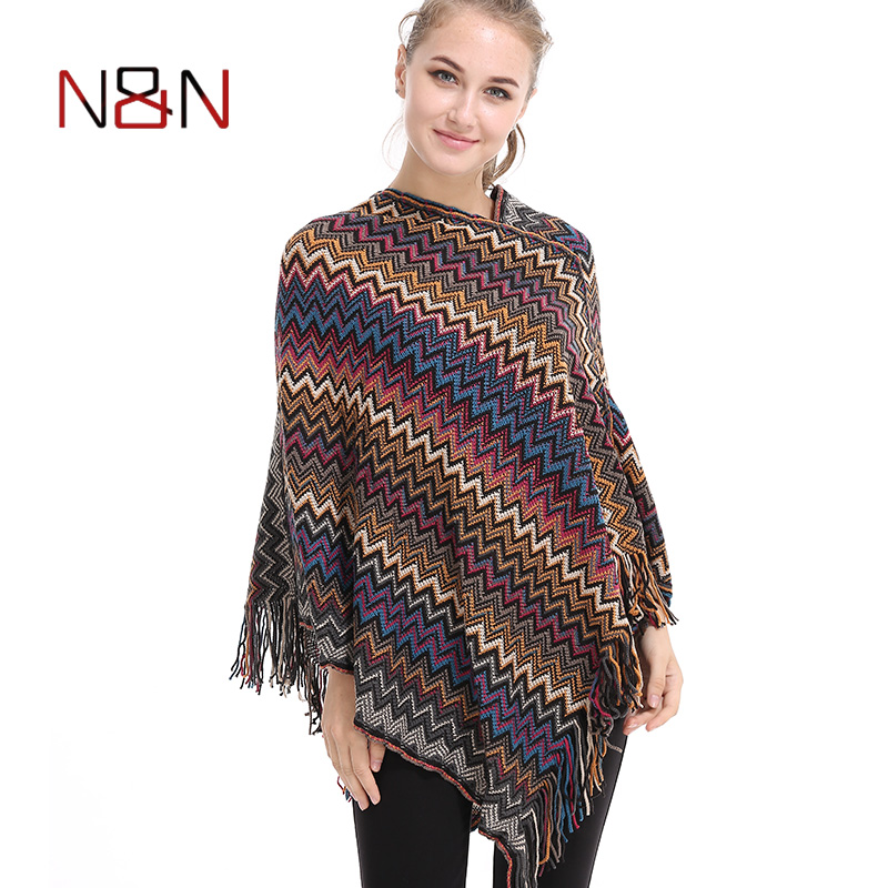 Casual Knitted Poncho Women Scarf Warm Loose Striped Tassel Poncho And Capes Ladies Long Batwing Sleeve Sweaters V-Neck Cape