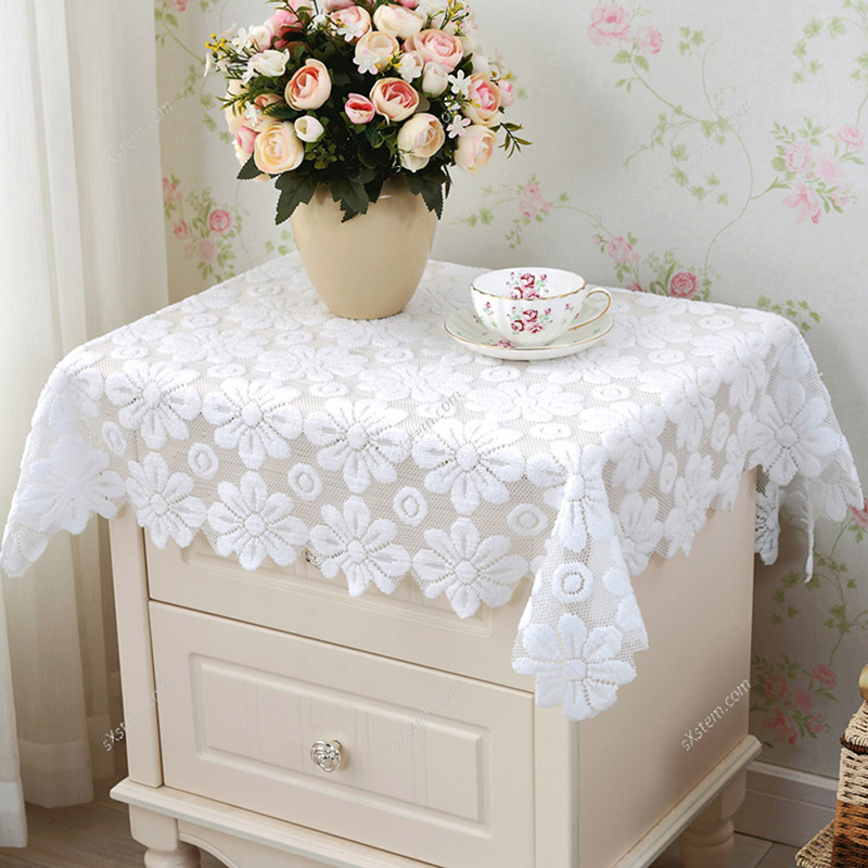 Hot Sale Yazi Lace Tablecloth White Floral Chic Rectanglesquare