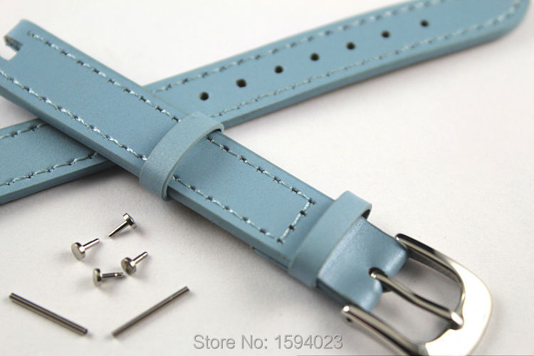 12mm (Buckle12mm) T084210 High Quality Pin Buckle + Blue Genuine Leather Watch Bands Strap Free shipping