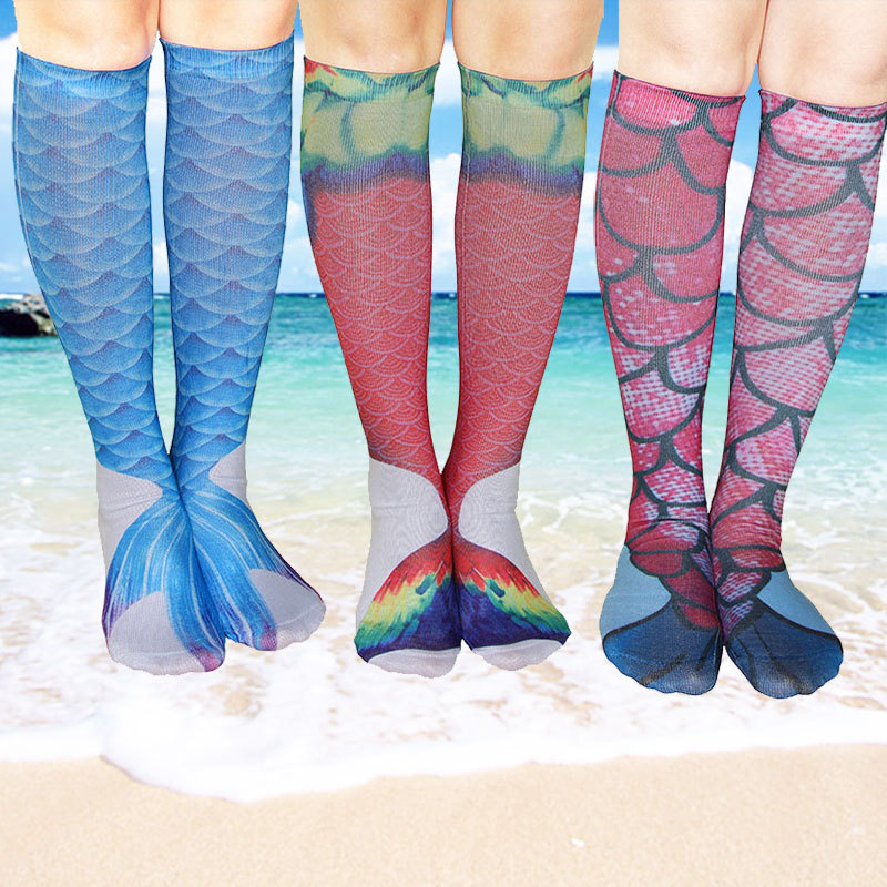 2PCS  Mermaid Tail Cosplay Stockings 2017 Summer New 3D Printed Mermaid Long Stockings Funny Beach socks
