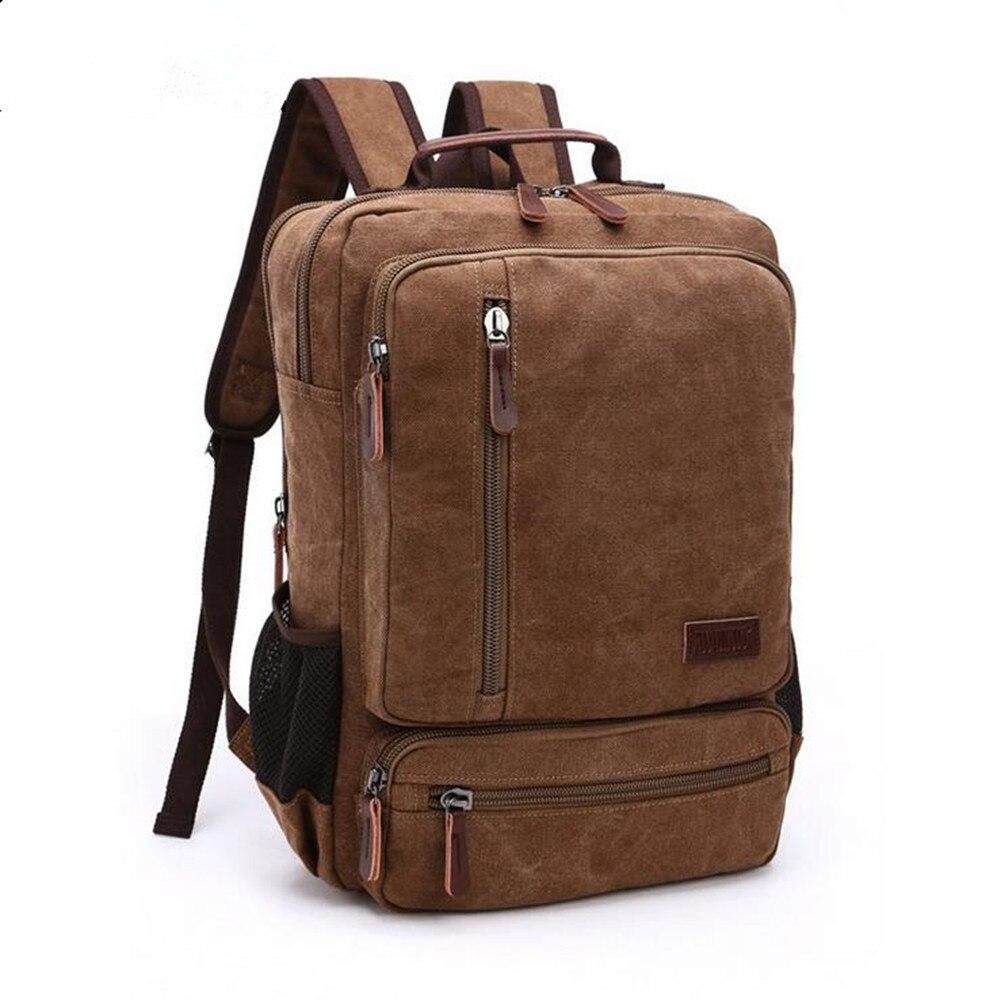 Unisex Zipper Canvas Reteo Backpack Classic Backpack Rugged Vintage Rucksack  Multi-Functional Bag bb35fd33fb11c