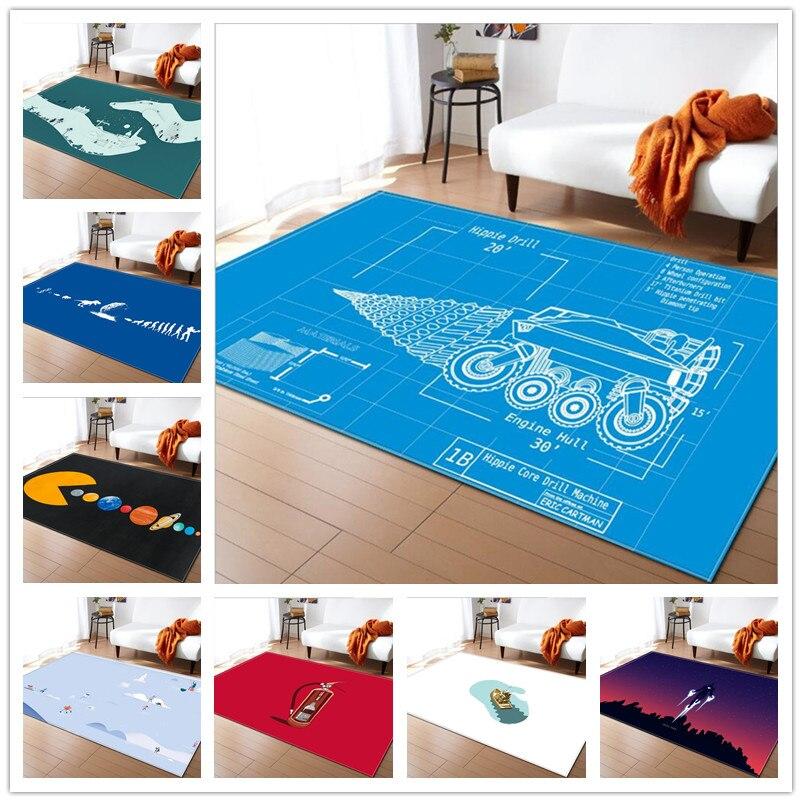 Nouvelle créativité bande dessinée impression tapis paillasson enfants cuisine salle de bain antidérapant tappeto tapis pour salon grand tapis