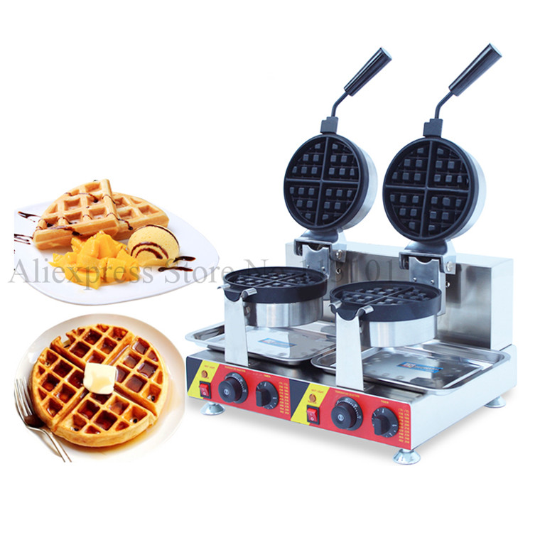 Double Pans Rotatable Waffle Machine Electric Nonstick Waffle Maker Commercial Waffle Baker Electric Heating digital and commercial double head waffle maker rectangle waffle machine