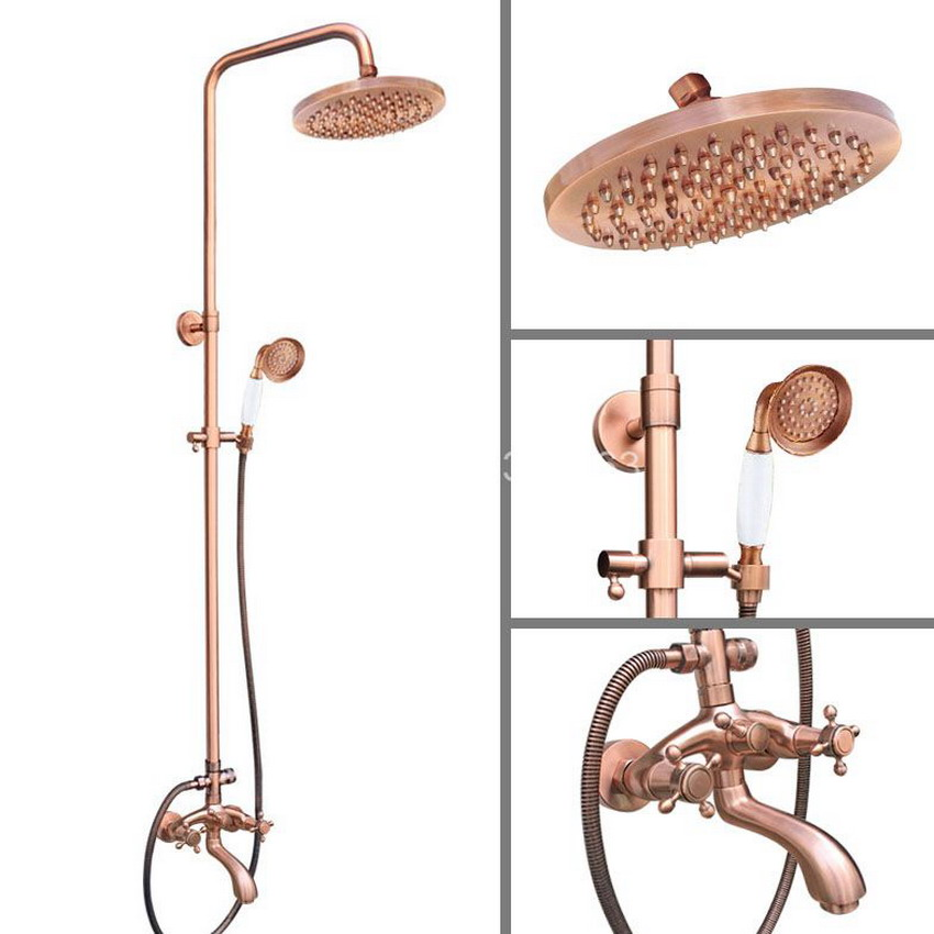 Luxury Antique Red Copper Wall Mounted Bathroom 8 inch Round Rain Shower Faucet Set Dual Cross Handle Tub Mixer Tap arg506