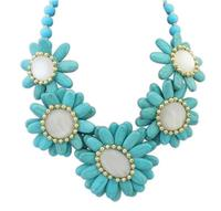 NANBO Fashion Bohemian Colorful Stone Sunflower Ocean Beads Blue Stone Necklaces For Women MX1162