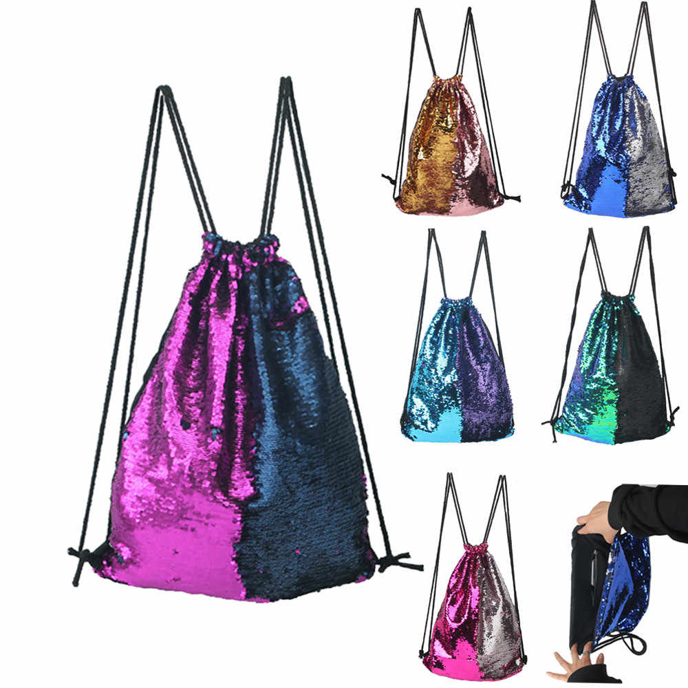 Fashion drawstring bags women men Roses Sports Casual Double Color shiny  Sequins Unisex Chest Bag Backpack