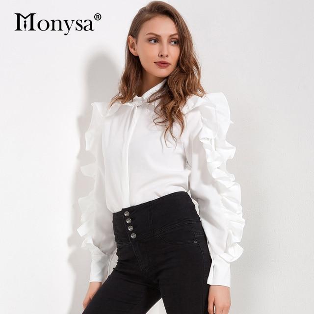Ruffle White Blouse Women  New Arrivals Fashion Zipper Design Long Sleeve Shirt Women Streetwear Shirts