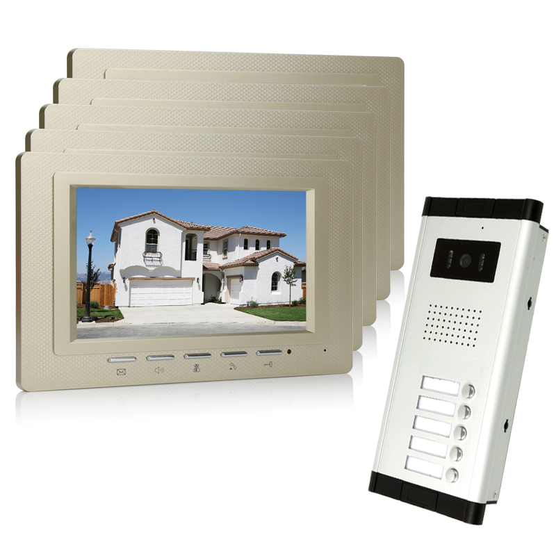 Wholesale Brand New Home Apartment Intercom System 5 Monitors Wired 7