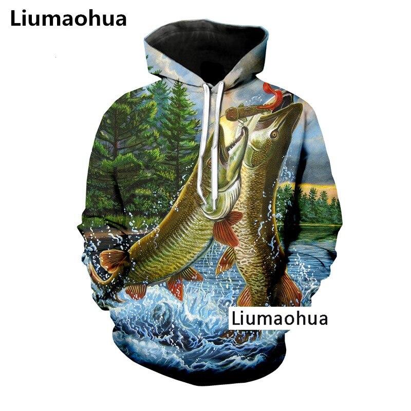 Liumaohua Più Nuovo Amore Go Fish Tenere Arapaima Crap Pesce Gatto di Stampa 3D Felpa Con Cappuccio/Felpa Unisex di Modo Premium Magliette e camicette
