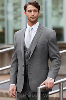 Custom Made To Measure Men Suit, Bespoke Grey Tuxedo Jacket And Pants With V neck Vest,Classic Gray Wedding Suits For Men