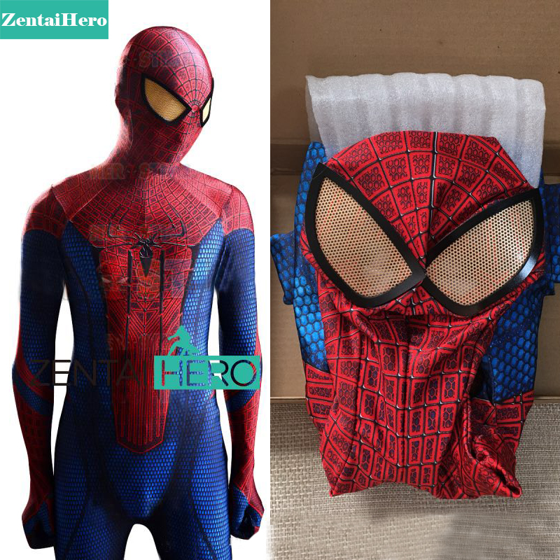 Free Shipping DHL The Amazing Spiderman Costume 3D Original Movie Halloween Spider-Man Costume 2018 Spiderman Superhero Bodysuit