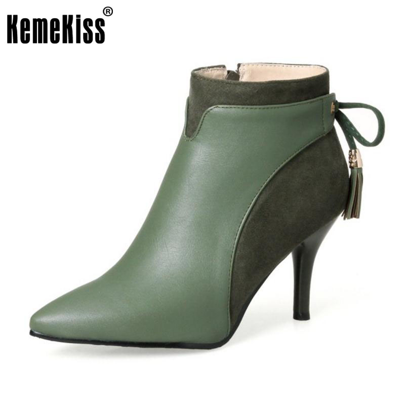 KemeKiss Plus Size 32-46 Ladies Thin High Heel Ankle Boots Women Sexy Pointed Toe Side Zip Tassels Shoes Women Winter Warm Botas 2016 fashion winter women shoes sexy pointed toe platform thin heel high heels big size 32 46 solid pu lace up ankle boots