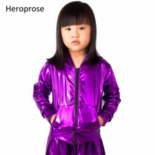 2018 Mode Lente Herfst Kids bomberjack Stage Performance Wear paillette feminina casaco purple Hip Hop dansjas