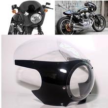 """Мотоцикл 5 3/"""" Передняя Кафе Racer фара обтекатель Drag Racing лобовое стекло для Harley на заказ Sportster Dyna"""