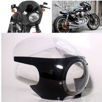 Motorcycle 5 3/4 Front Cafe Racer Headlight Fairing Drag Racing Windshield For Harley Custom Sportster Dyna