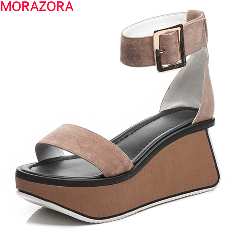 MORAZORA 2019 new fashion women gladiator sandals suede leather shoes buckle punk casual shoes woman platform
