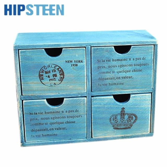 HIPSTEEN Retro Design Household Essentials 4-Drawer Wooden Storage Chest Cabinet / Jewelry Organizer New  sc 1 st  AliExpress.com & HIPSTEEN Retro Design Household Essentials 4 Drawer Wooden Storage ...