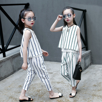 2Pcs Little Girl Summer Clothing Set Kids Outfits Striped Sleeveless Vest Tops+pant Suits Teenage Clothes for Girls 12 Years Old