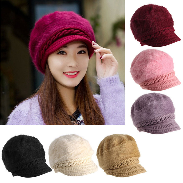 ac7a9be8dc665 Women Ladies Beret Winter Warm Wool Baggy Beanie Knit Crochet Hat Slouch  Ski Cap