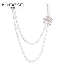 MYDEAR Fine Pearl Jewelry Cultured Pearl Necklace,7-8mm Freshwater Pearls Sweater Chains,Nearly Round,High Light,2016 Newest