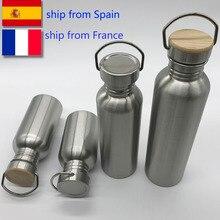 Портативная бутылка для воды из нержавеющей стали, Бамбуковая крышка, спортивные фляги, герметичные, дорожные, велосипедные, 1000 мл/750 мл, походные бутылки BPA бесплатно