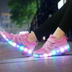 Sneakers for Children on Small Wheels Roller Sneakers with Wheels Luminous Sneakers with Rollers zapatillas con ruedas y luces