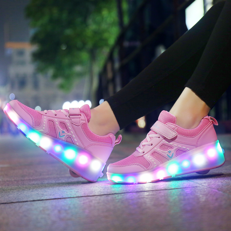 Sneakers For Children On Small Wheels Roller Sneakers With Wheels Luminous Sneakers With Rollers Zapatillas Con Ruedas Y Luces