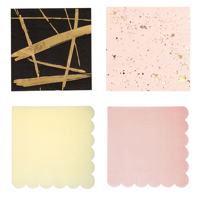 20pcs/pack Various styles Rose Gold Pink Blue Tableware Paper Napkin Baby Shower Wedding Birthday Hen Party Decorations Supplies