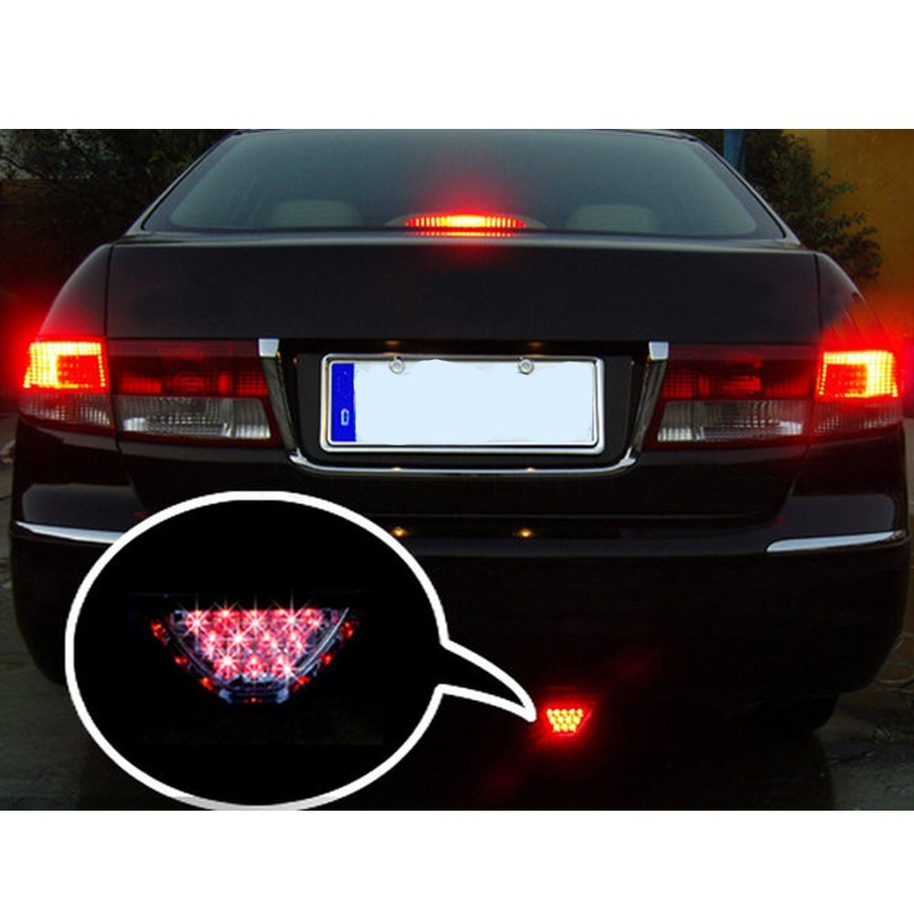 Universal Motorcycle Tail Stop Driving Light Moto Brake lamp Motorbike auxiliary triangle led Rear fog lights Car Accessories 14