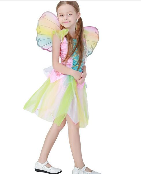 Cute  elf Sprite Dress Neverland Tinkerbell Garden Fairy Kids Costume Lovely Woodland Girl Little Fairy Costume Dress