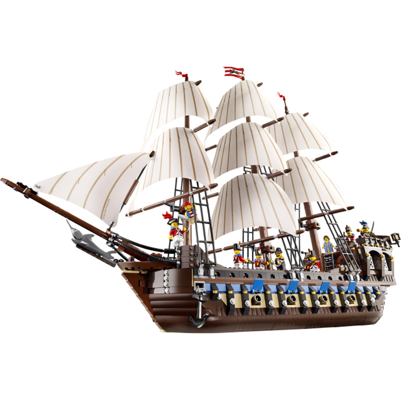 WAZ Compatible Legoe Technic Series 10210 Lepin 22001 1717pcs Pirates of Caribbean Ship building blocks bricks toys for children lepin 22001 pirates series the imperial war ship model building kits blocks bricks toys gifts for kids 1717pcs compatible 10210