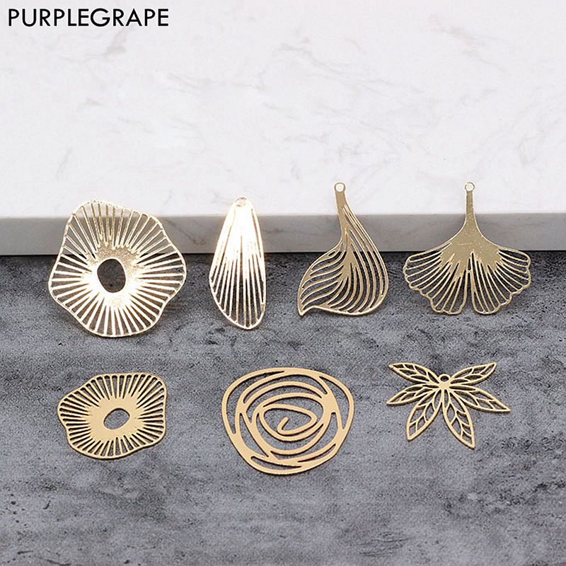 0.5mm Thick Copper Plated 18K Gold Color Material Diy Earrings Jewelry Handmade Bookmarks Leaves 4pcs