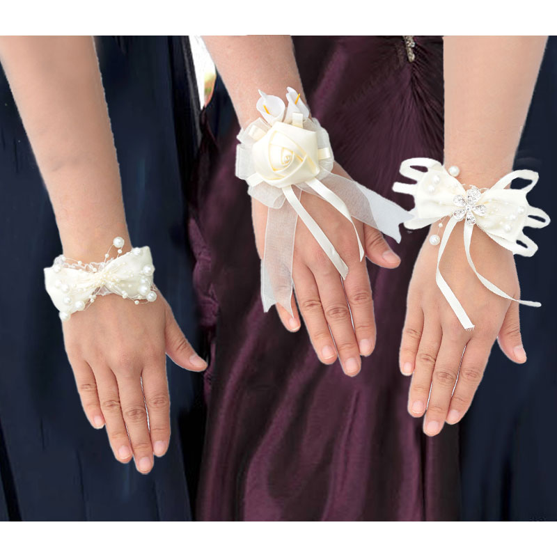 7piece/Lot Ribbon Rose Silk Bow Wrist Corsage Bridesmaid Bracelet Flower Hand Wedding Pearl Crystal Flowers On The Wrist Partyhe