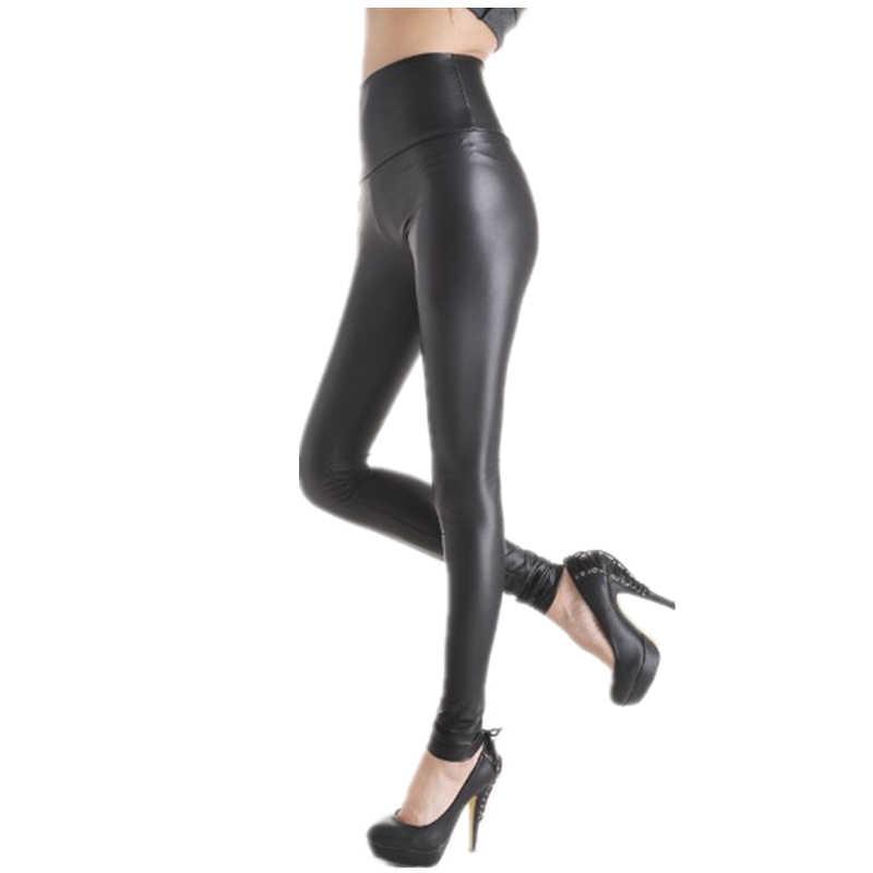 3138ba628c16a2 Women's Faux Pu Leather Leggings Fashion Black Solid High-Waist Skinny Pants  Long Trousers Casual