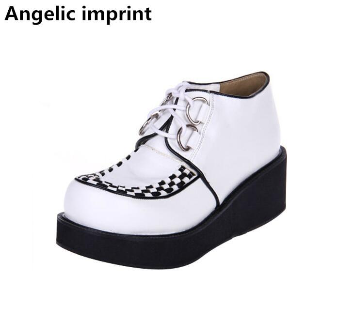 Angelic imprint Japan style woman mori girl lolita cosplay punk shoes lady high trifle heels pumps women princess dress shoes 46