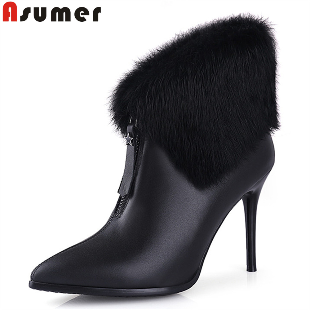 Asumer black white women boots zipper thin heels genuine leather boots pointed toe super high cow leather ankle boots asumer black white fashion new women boots pointed toe genuine leather boots zipper cow leather ankle boots low heel shoes
