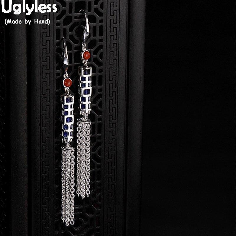 Uglyless chinois comme un labyrinthe mais signifie heureux mariage bijoux fins solide 925 argent chaînes gland boucles d'oreilles Agate boucles d'oreilles Lapis