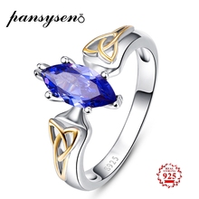 цена PANSYSEN  925 Sterling Silver Sapphire Ring Mariquesa Cut Natural Gemstone Rings for Women Wholesale Wedding Engagement Jewelry онлайн в 2017 году
