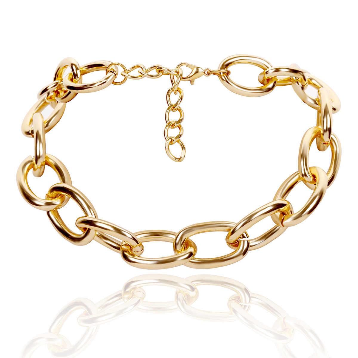 JCYMONG 3 w stylu Punk metalowy łańcuch Chokers naszyjniki dla kobiet moda Gothic złoto srebro kolor Chunky Curb krótki łańcuszek na szyję