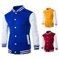 2016 men's clothing 8 color Classic baseball shirt cardigan jacket Slim collar short paragraph hoodiesshirt brushed sweatershirt