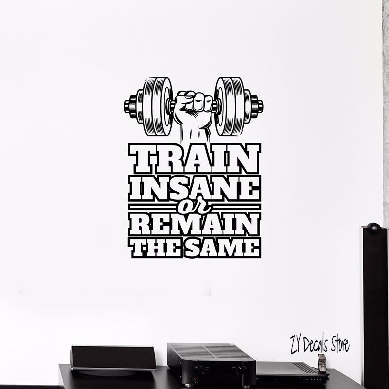 Train Insane Gym Fitness Wall Sticker Workout Motivation Quote Wall Art Decal