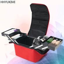 HHYUKIMI Women Makeup Organizer Large Capacity Multilayer Clapboard Cosmetic Bag Case Beauty Salon Tattoos Nail Art Tool Bin
