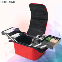 HHYUKIMI Women Makeup Organizer Large Capacity Multilayer Clapboard Cosmetic Bag Case Beauty Salon Tattoos Nail Art