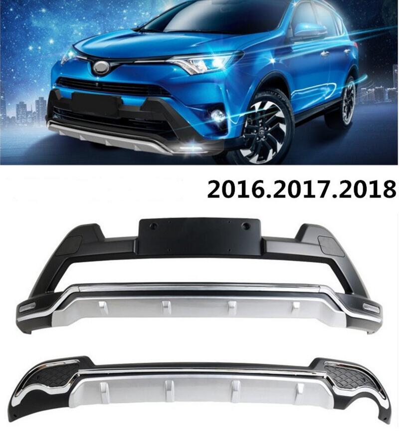 Garde de pare-chocs automatique pour TOYOTA RAV4 2016.2017.2018 LED de ceinture de plaque de pare-chocs avant + arrière DRL accessoires de voiture de haute qualité