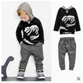 Free Shipping 2017 spring section of children's cotton long-sleeved sports suit 2 pcs  (hooded jacket + sports pants) skull dino