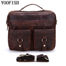 YOOFISH  Genuine Leather Bag Casual Men Handbags Cowhide Men Crossbody Bag Men's Travel Bags Laptop Briefcase Bag  LJ-880