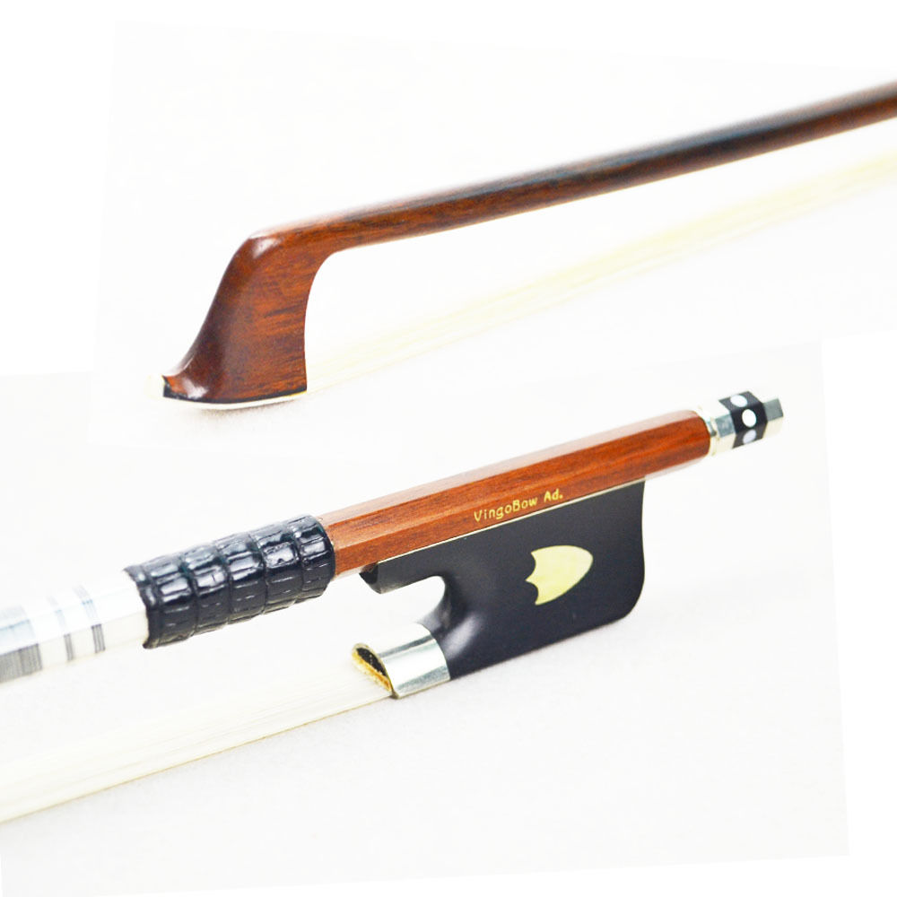 430M Pernambuco VIOLA BOW Ebony Frog with Shield Pattern Nickel Silver Mounted Natural White Horsehair Viola Parts Accessories 1 4 size 812vb pernambuco violin bow high density ebony frog with nickel silver good quality hair straight violin accessories