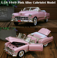 fine 1:18 1949 Pink Alloy Cabriolet Model Doors can be opened Collection model